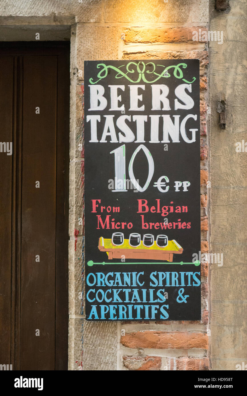 Belgian beer tasting sign in Brussels street, Belgium, Europe - Stock Image