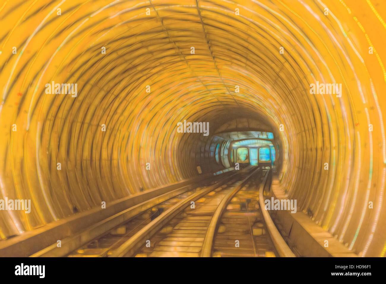 Bund Sightseeing Tunnel, Pudong, Shanghai, China Stock Photo