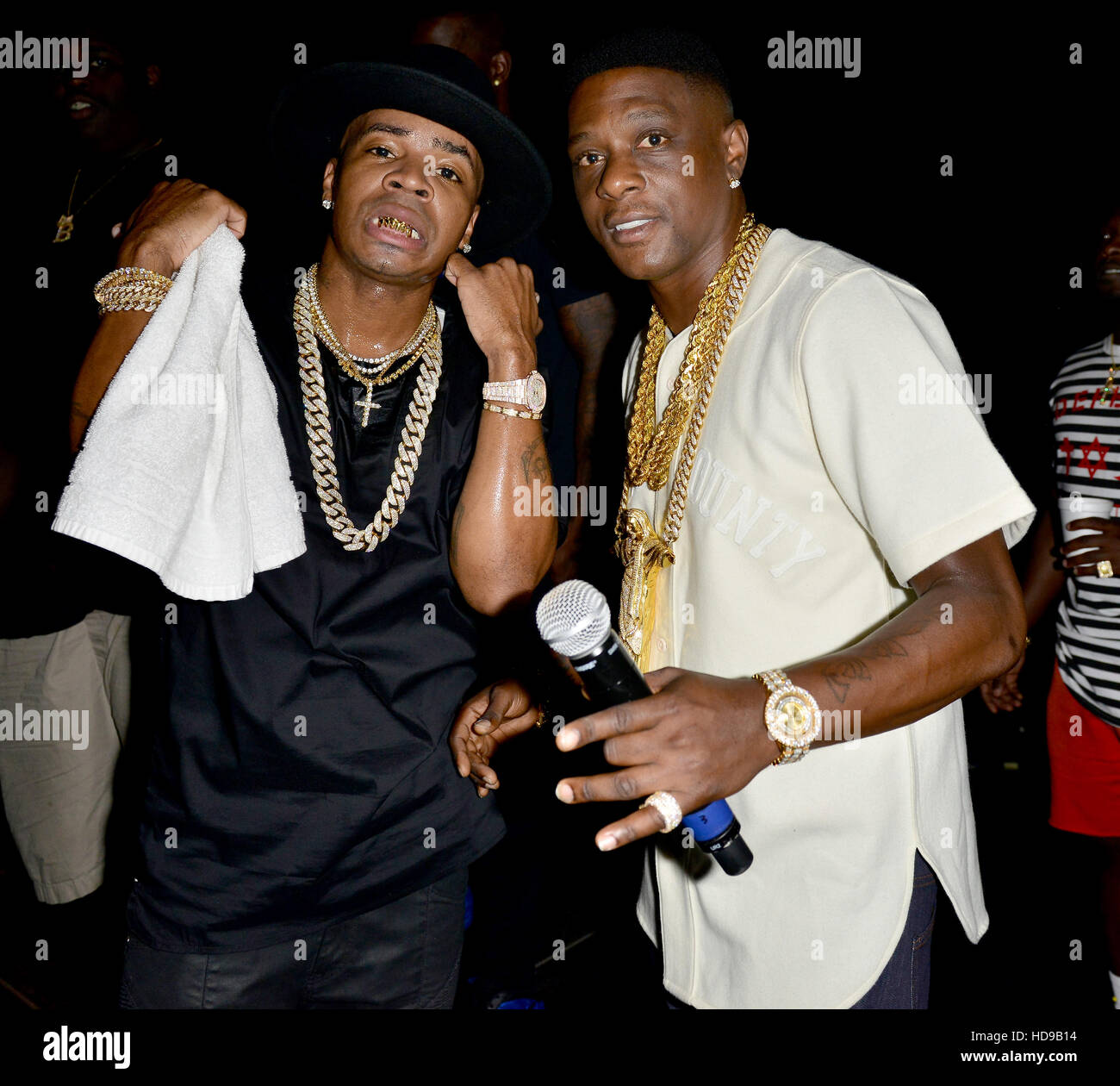 Lil' Boosie and Plies Kings backstage during the Kings of the Streets Tour at the James L. Knight Center  Featuring: - Stock Image