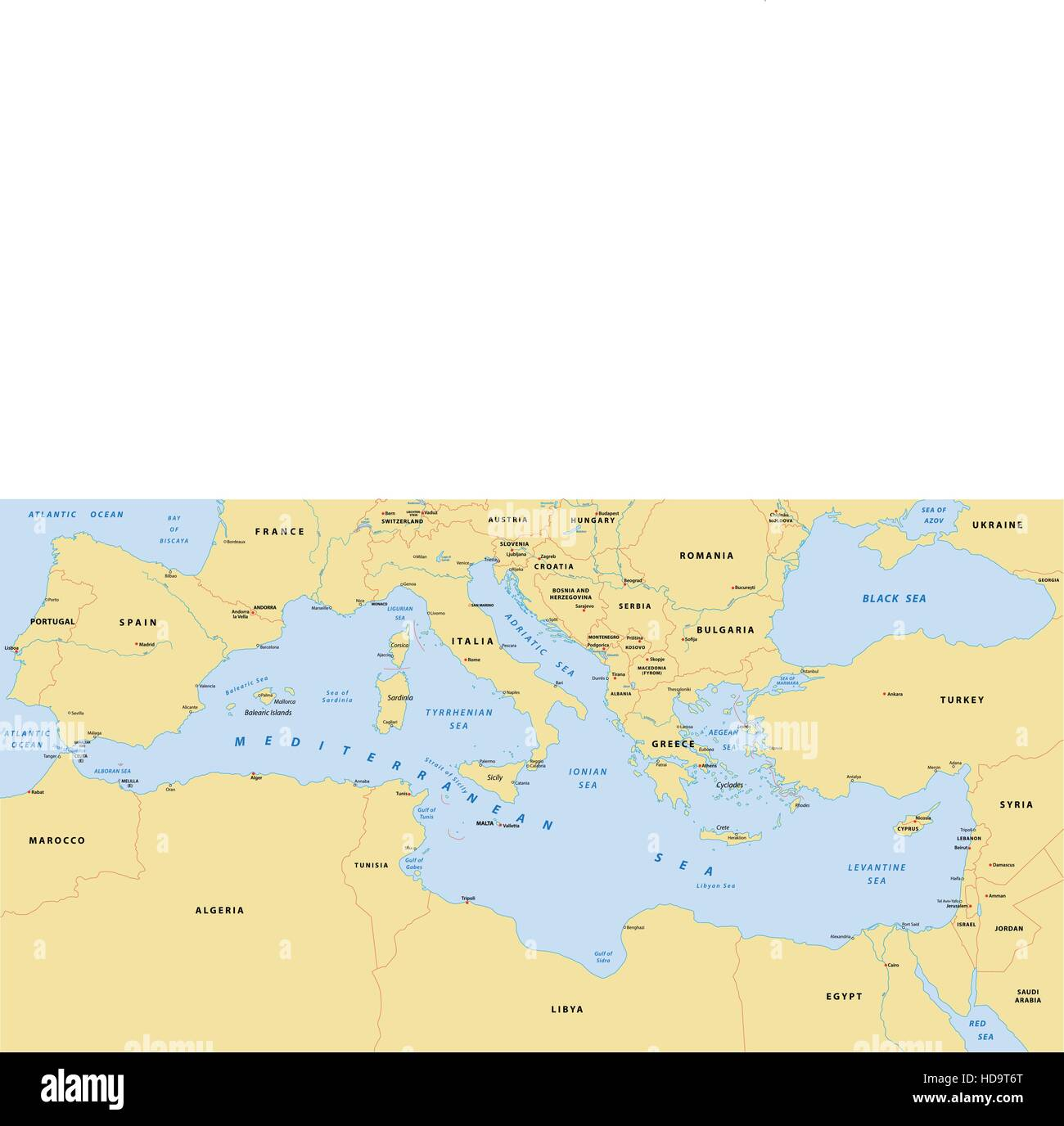 mediterranean sea map - Stock Image