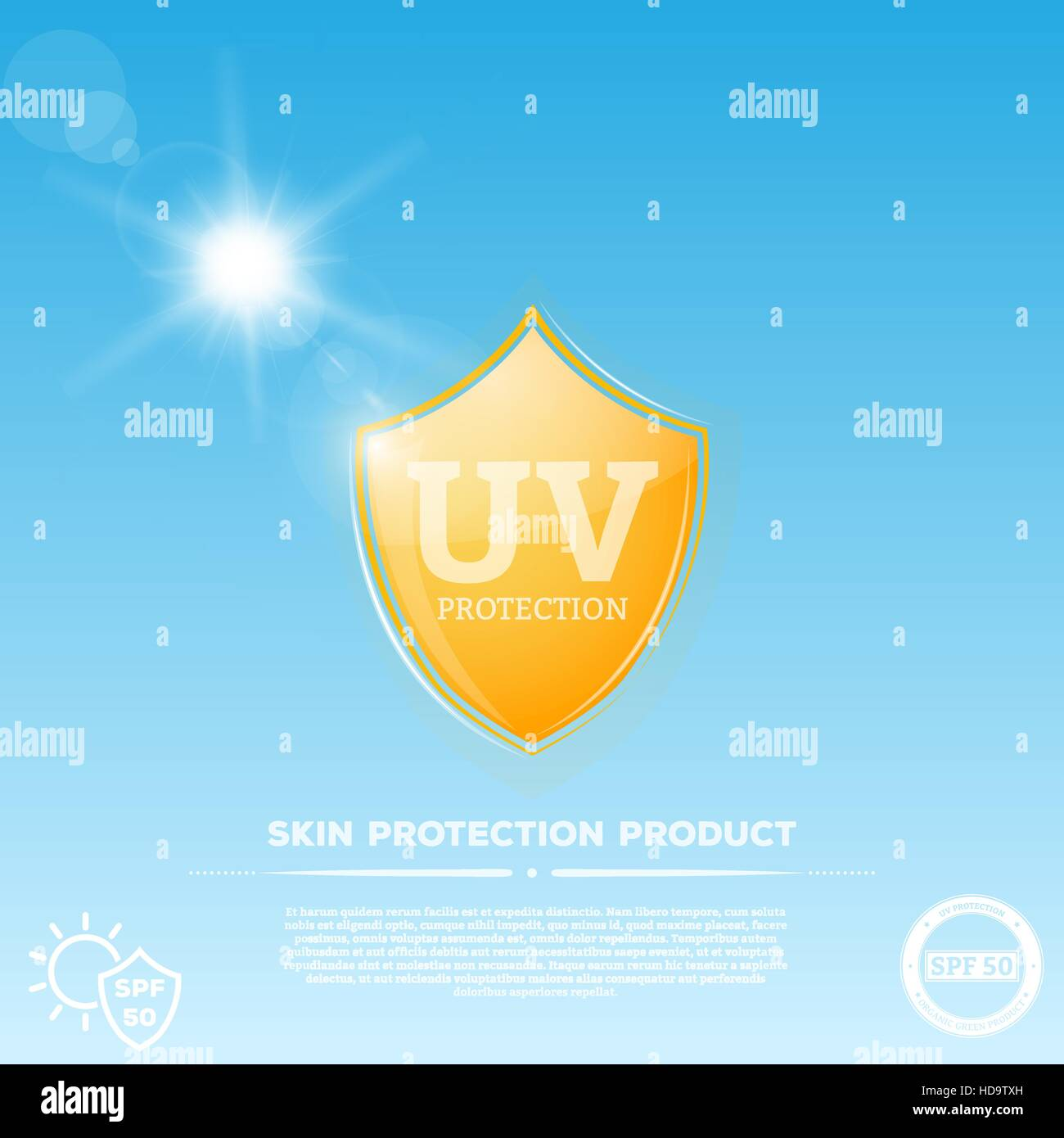 Ultraviolet Radiation Stock Photos Uv Protection Optical Yellow Fluor Glowing Shield With Sun Emblem Rays On Sky Background Representing