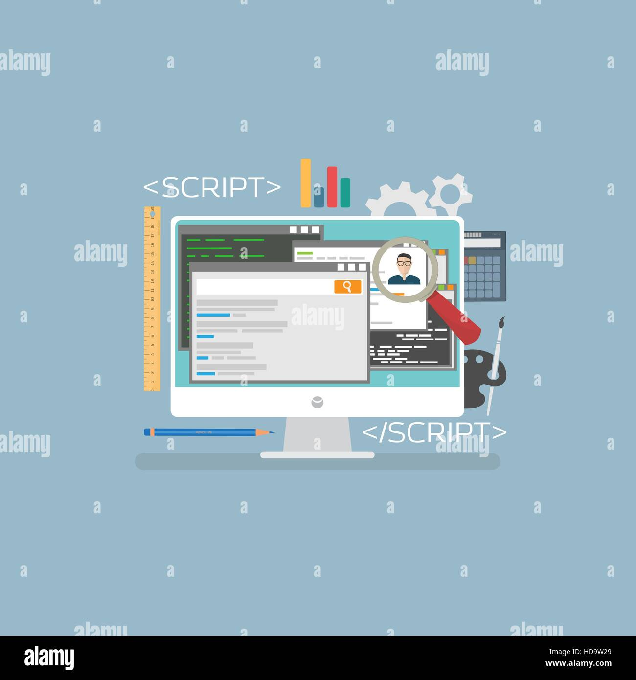 Flat web development concept. Web browser and window on monitor and programs for scripting and programming web applications - Stock Image