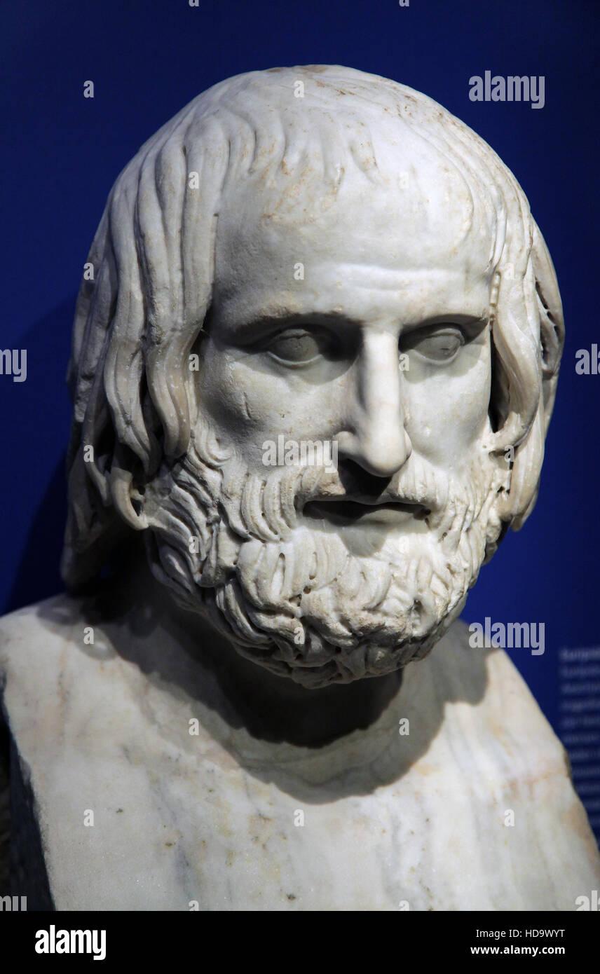 Euripides Portrait figure of Euripides 480-406 b.c. - Stock Image