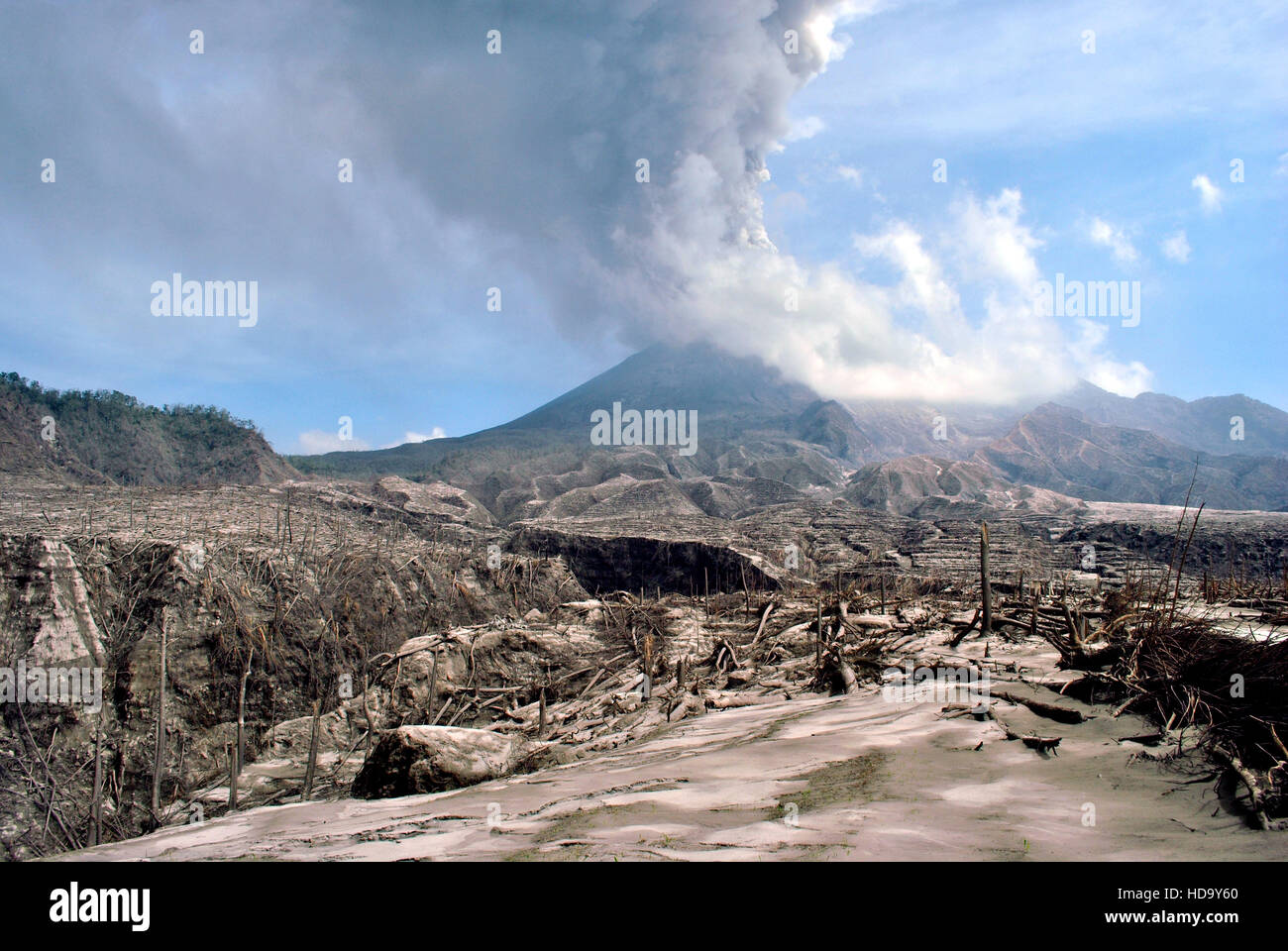 The 2010 eruptions of Mount Merapi began in late October 2010 when Mount Merapi in Central Java, Indonesia - Stock Image