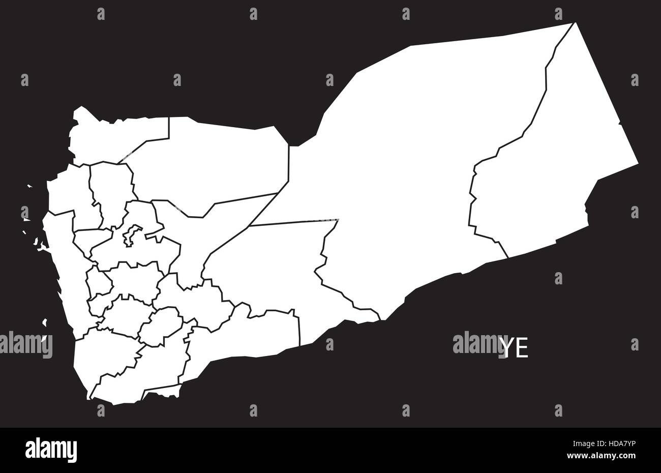Yemen governorates Map black and white illustration Stock Vector