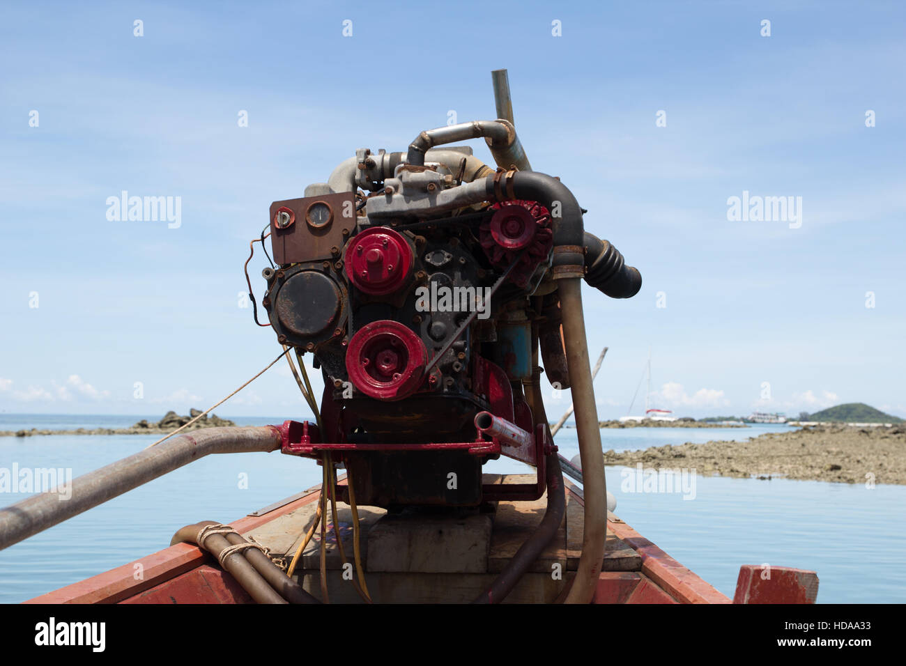 Motor of a longboat - Stock Image