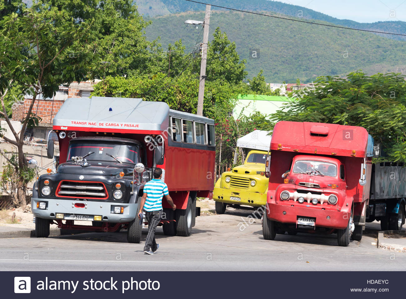 Colourful American old vintage trucks traditional in the Stock Photo ...