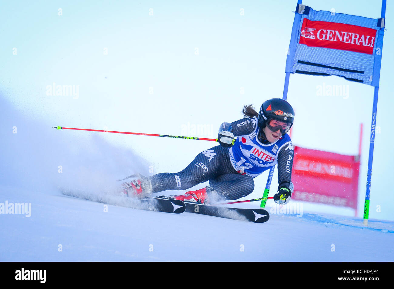 Sestriere, Italy. 10th December, 2016. Audi FIS Women Giant Slalom World Cup in Sestriere on the Kandahar slope, - Stock Image