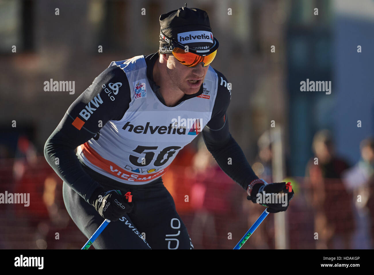 Davos, Switzerland, 10th December 2016. Dario Cologna during the Men's 30 km F competition at the FIS Cross - Stock Image