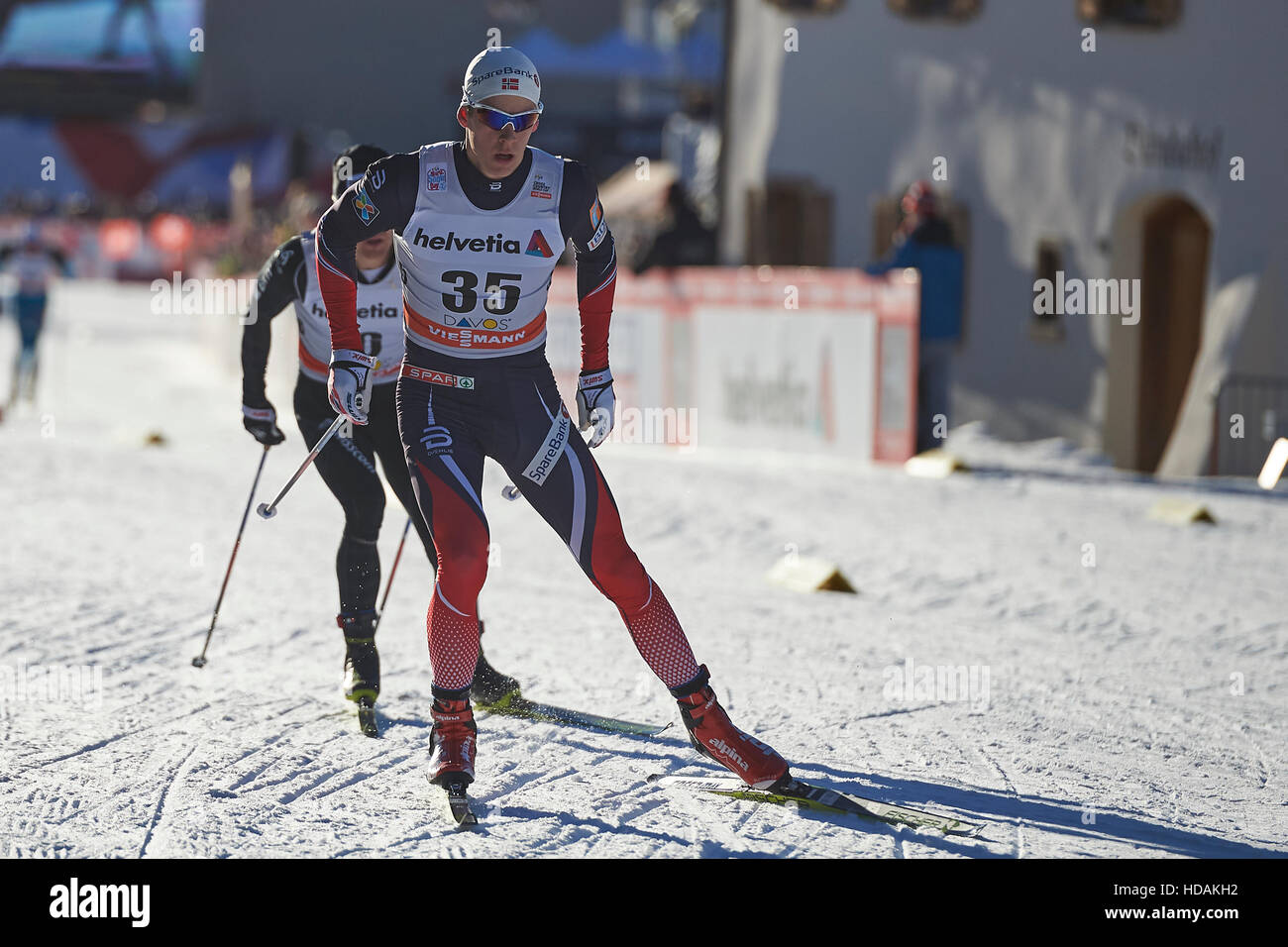 Davos, Switzerland, 10th December 2016. Anders Gloeersen during the Men's 30 km F competition at the FIS Cross - Stock Image