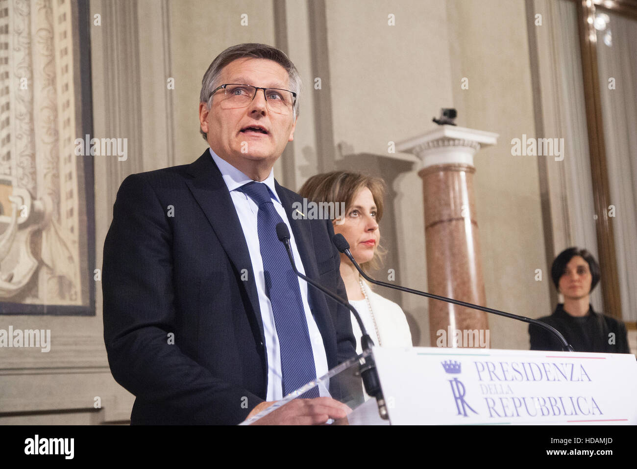 Rome, Italy. 10 December 2016.Luigi Gaetti, left, and Giulia Grillo, members of the Five Star Movement (M5S), speak - Stock Image