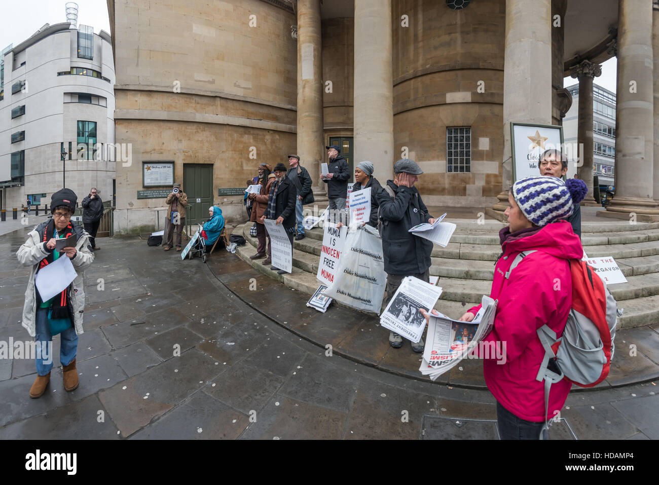 London, UK. 10th December 2016. The protest outside the BBC on UN Human Rights Day highlights their failure to cover - Stock Image