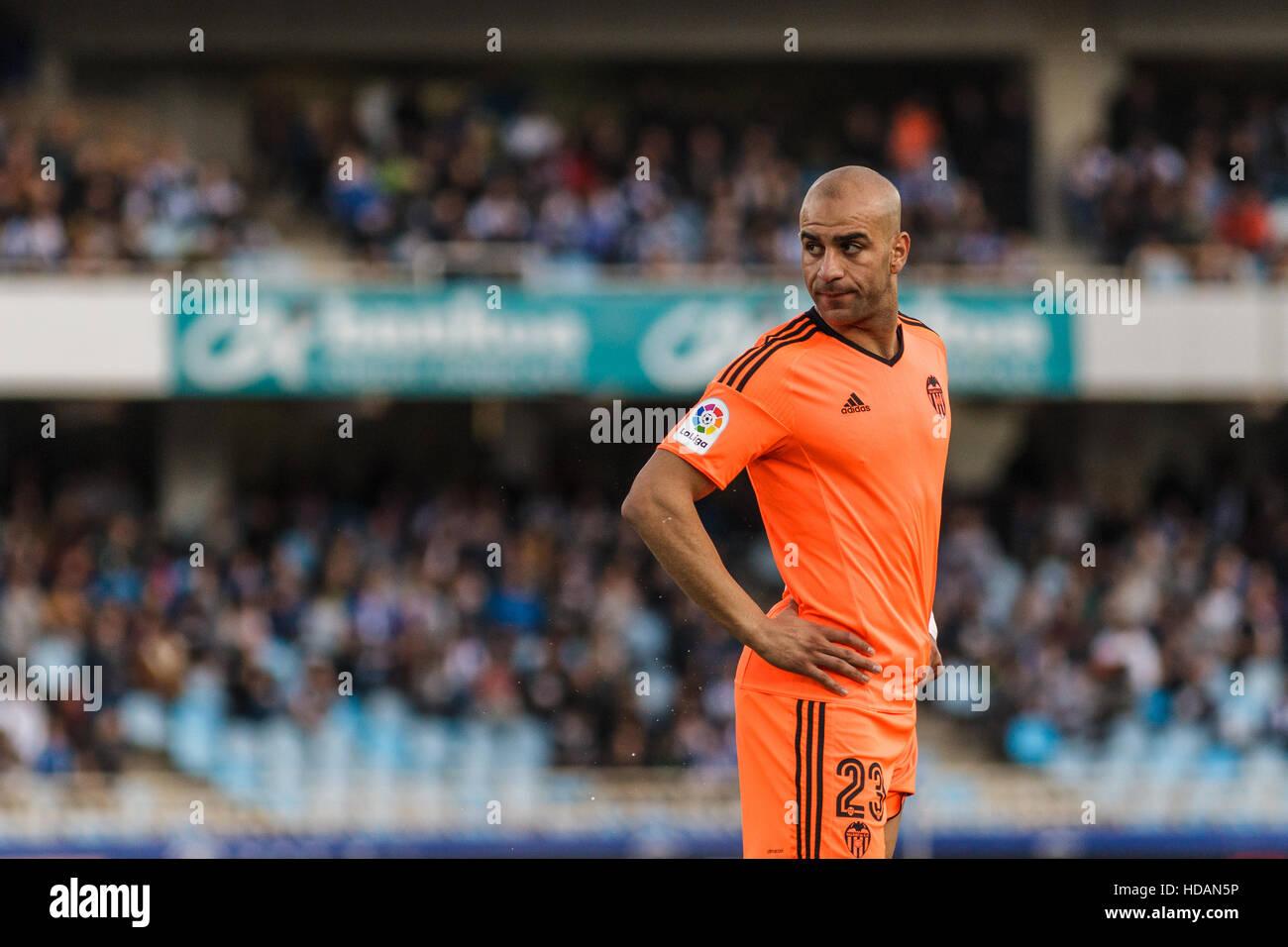 San Sebastian, Gipuzcoa, Spain. 10th December, 2016. Valencia defender Abdennour during the Liga Santander match - Stock Image