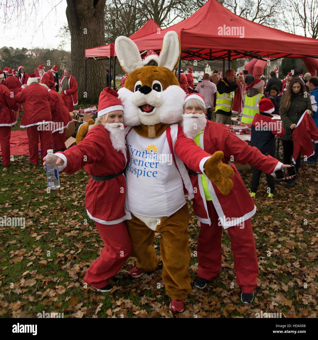 Abington Park, Northampton, UK. 11th December, 2016. Santa Run  11th December  2016 Credit:  PATRICK ANTHONISZ/Alamy - Stock Image
