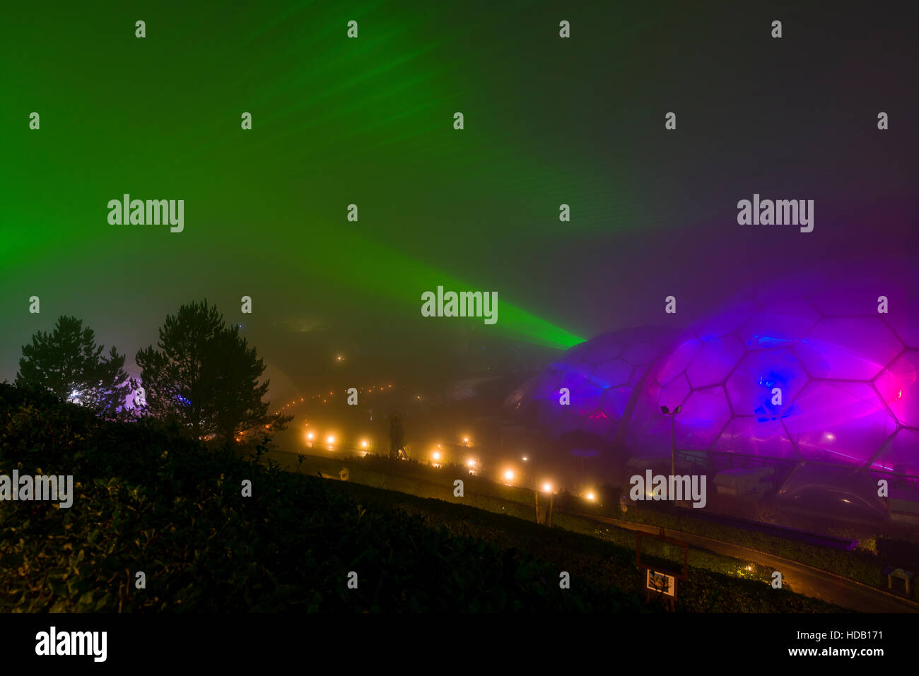 Eden Project Light and Sound show in the Fog. Editorial use only. Late Autumn photo from their recent event - Stock Image