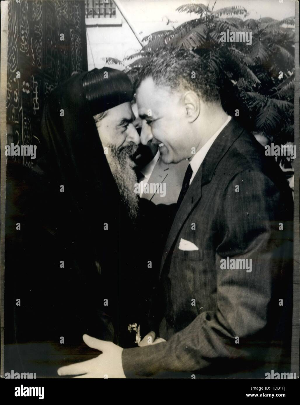 July 7, 1965 - Cairo, Egypt - NOSE TO NOSE: Egyptian President NASSER, 47, (Gamal Abdel Nasser Hussein), gives BEATITUDE - Stock Image