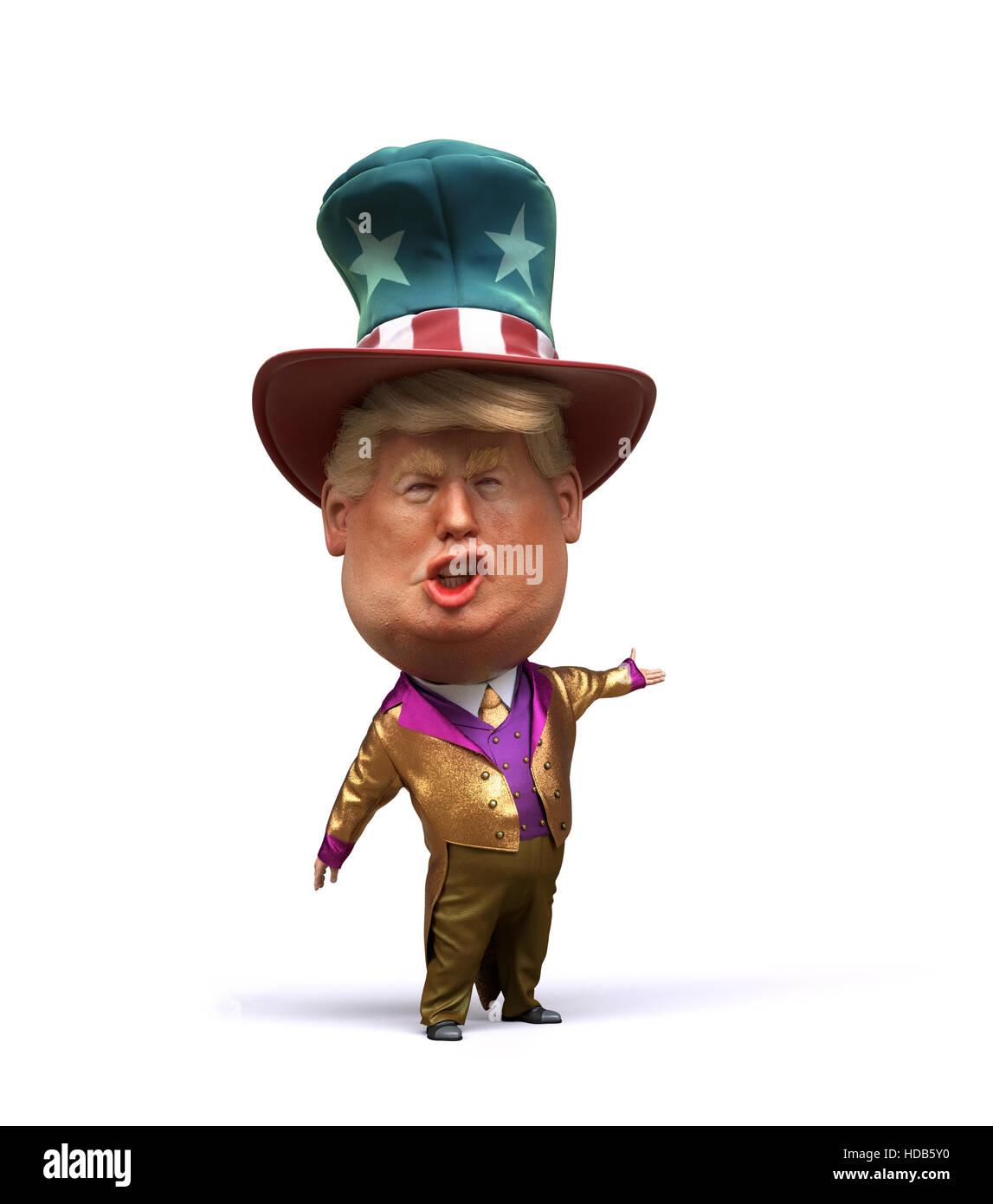 3d Caricature of Donald Trump - Stock Image