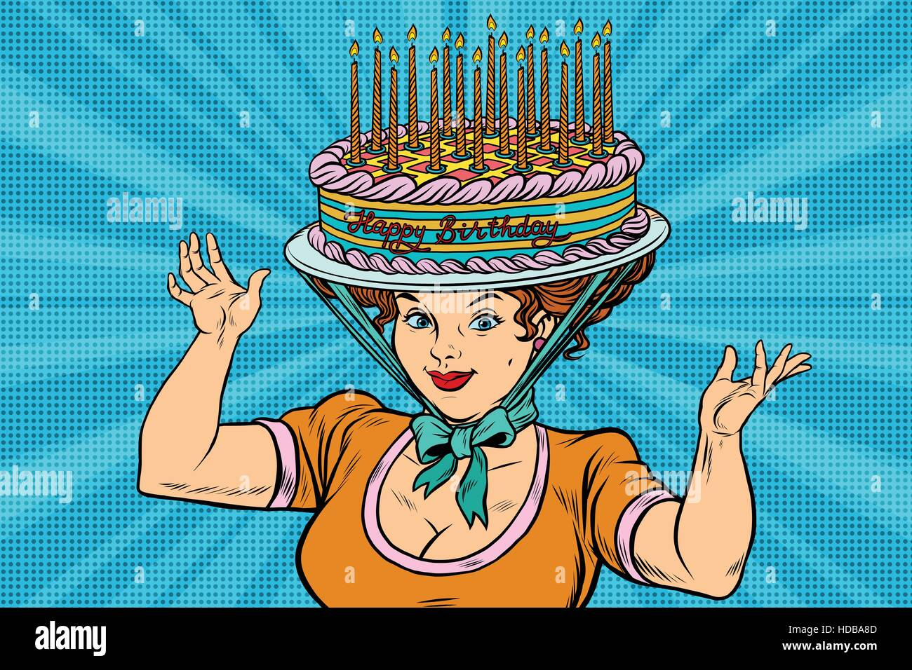 Happy Birthday Retro Woman And The Hat Cake