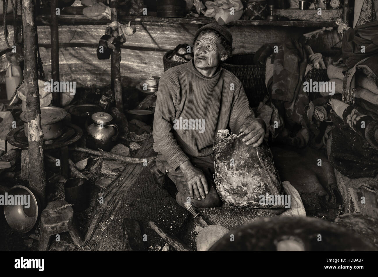 Man from a Brokpa nomad group  packs cheese in animal lining to barter locally near Dirang, Arunachal Pradesh, India. - Stock Image