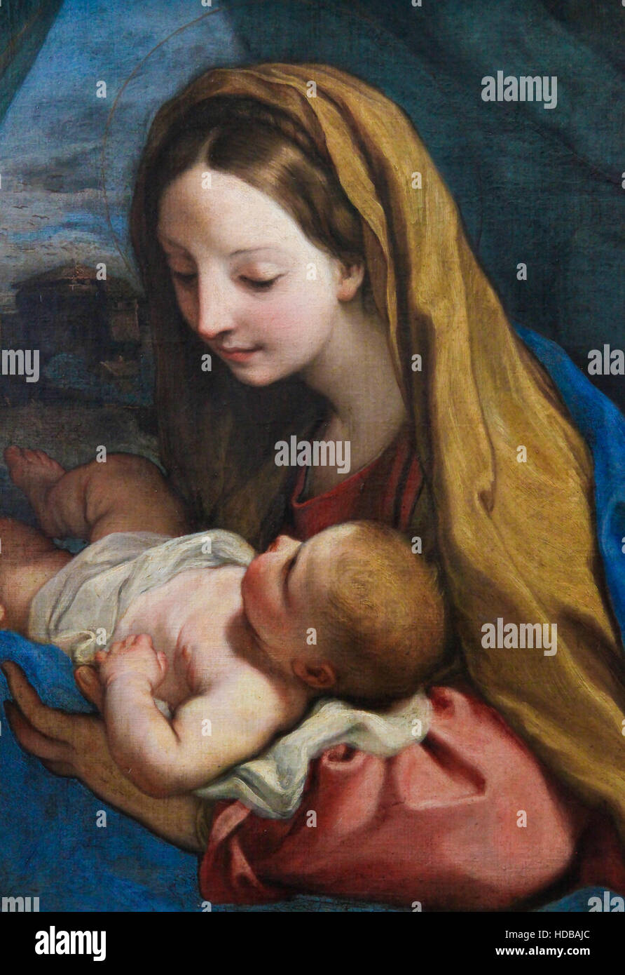Painting (1660) depicting Mother Mary and Child Jesus - Stock Image