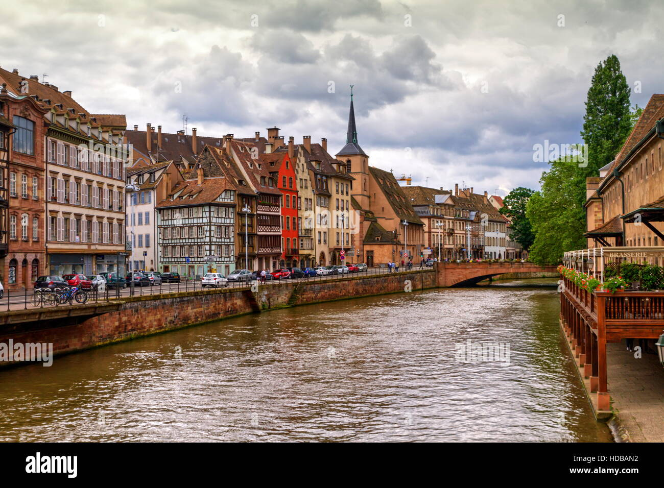 Canal and Saint-Nicolas dock by day in Strasbourg, France - Stock Image