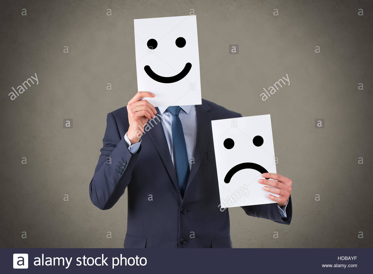 Unhappy and Happy Smileys - Stock Image