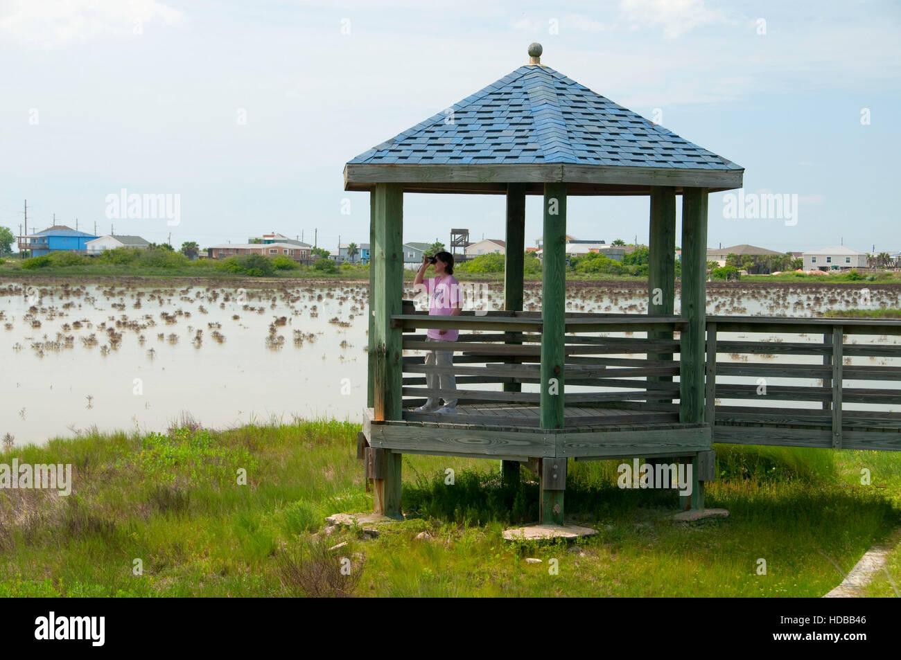 Viewing shelter, Port Aransas Wetland Park, Aransas Pass, Texas - Stock Image