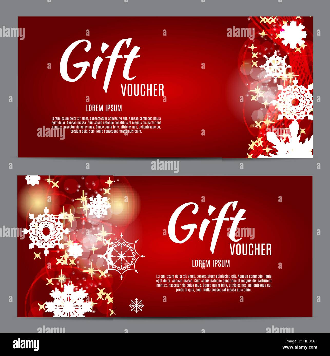 Christmas and New Year Gift Voucher, Discount Coupon Template Ve ...