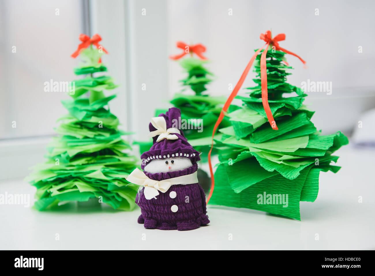 Christmas Handicrafts Christmas Decoration Snowman On White Stock