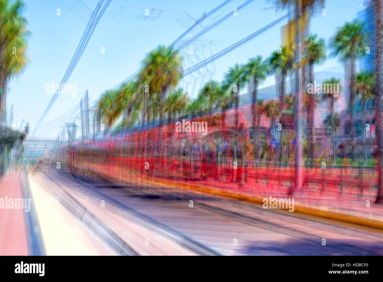 San Diego, California, USA. Impressionist photo of the San Diego Trolley. - Stock Image