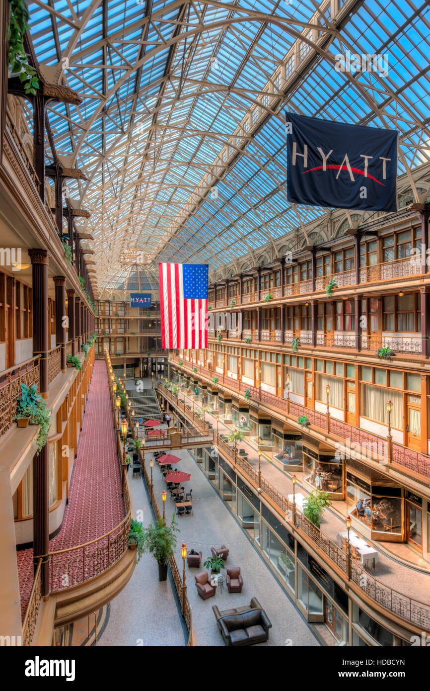 The historic Arcade, a landmark shopping and mercantile center in Cleveland, Ohio. - Stock Image