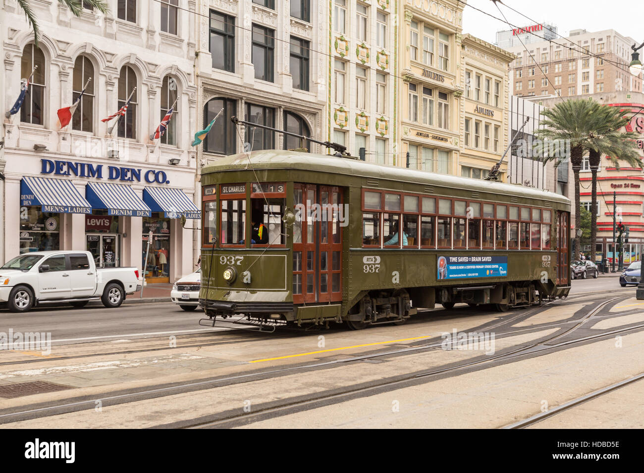 An RTA St Charles Line streetcar runs on Canal Street in New Orleans, Louisiana. - Stock Image