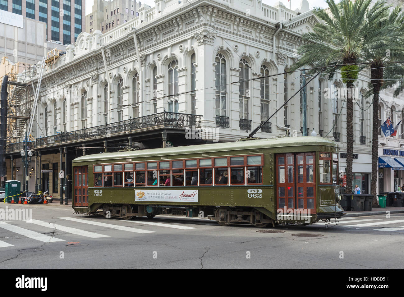 An RTA St Charles Line streetcar turns from Canal Street in New Orleans, Louisiana. - Stock Image