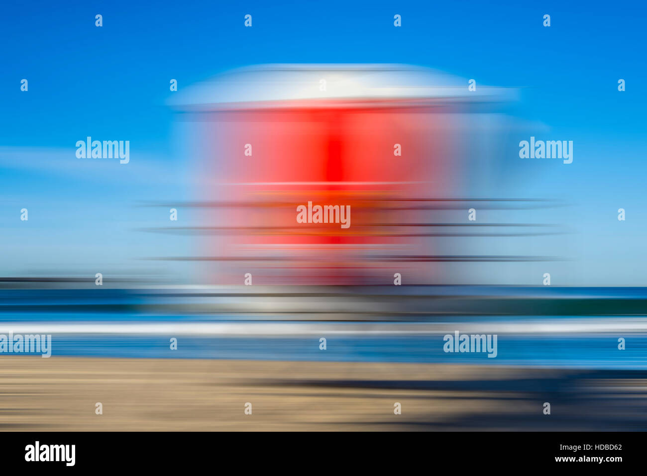 lifeguard tower, coastal scene, motion blur effect. - Stock Image