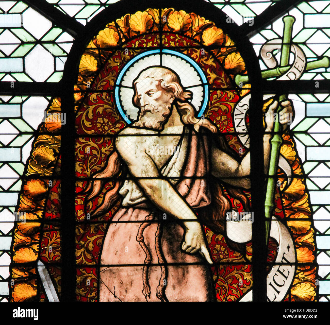 Stained Glass in the Church of Sainte Sulpice, Paris, depicting Saint John the Baptist. - Stock Image