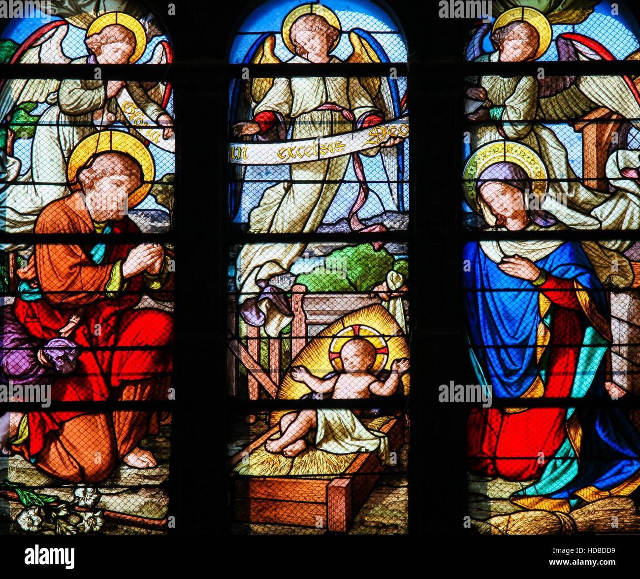 Stained Glass in Sainte Eustache Church in Paris, France, depicting a Nativity Scene at Christmas Stock Photo