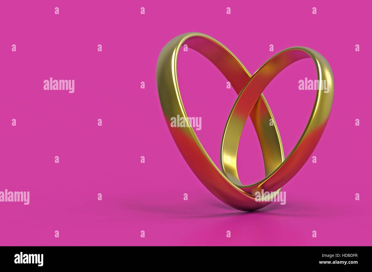 Stylized heart made of two wedding rings, 3d rendering Stock Photo ...