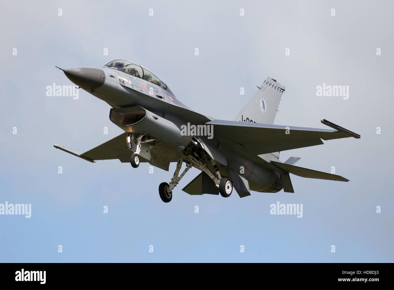 Royal Netherlands Air Force F-16 fighter jet plane landing - Stock Image