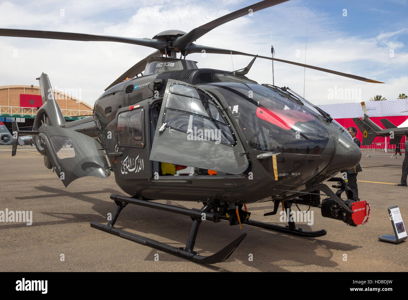 Royal Moroccan Gendarmerie Eurocopter EC135T2 helicopter on display at the Marrakesh Air Show 2016 - Stock Image