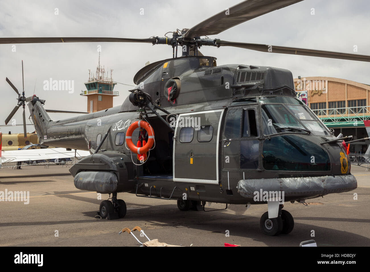 Royal Moroccan Gendarmerie Aérospatiale SA-330H Puma helicopter on display at the Marrakesh Air Show 2016 - Stock Image