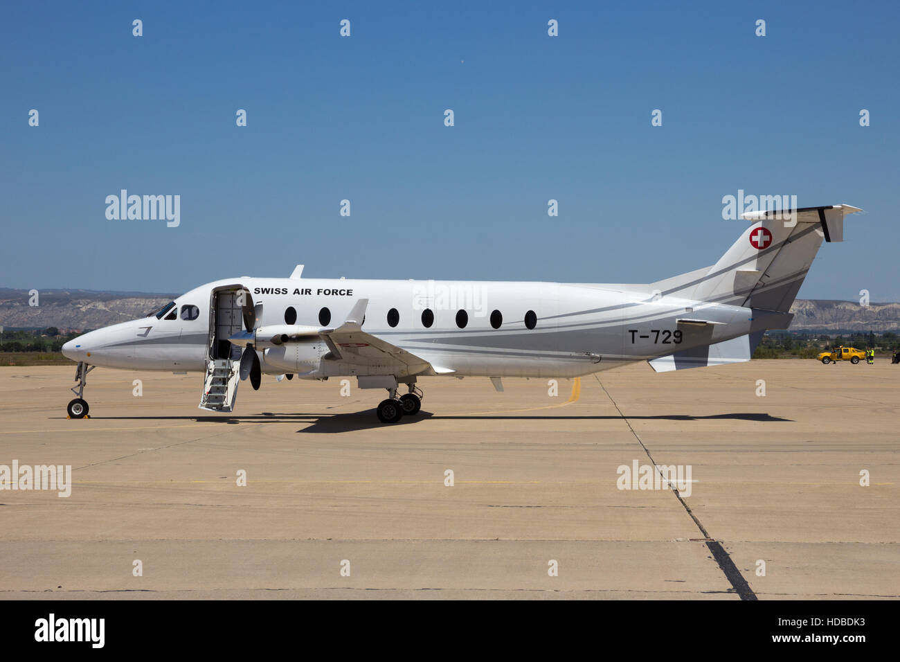 Swiss Air Force Beech 1900D on the tarmac of Zaragoza airbase. Spain - Stock Image