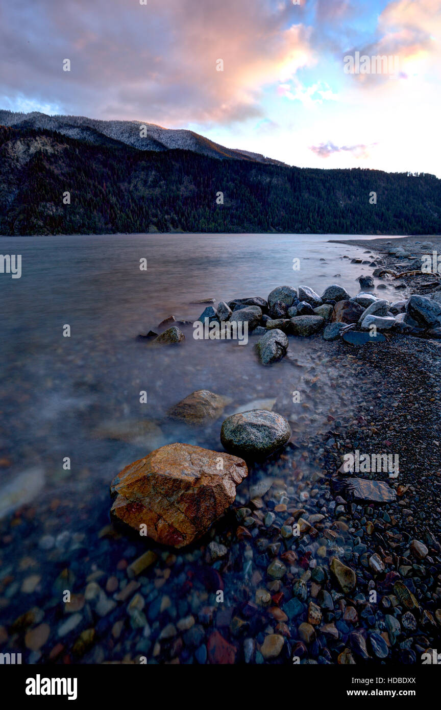 Late in day along Pend Oreille Lake. - Stock Image