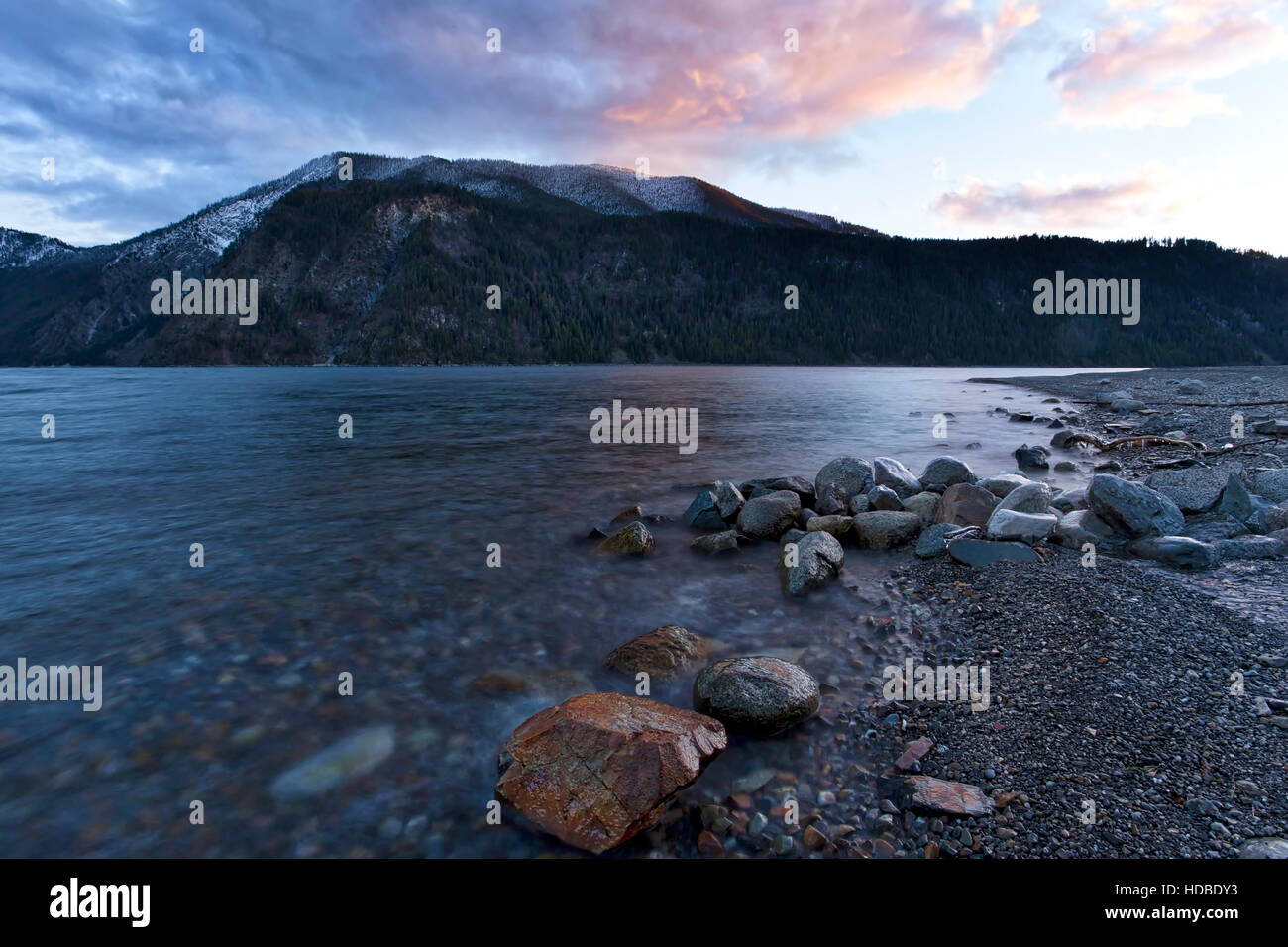 Pend Oreille Lake late in the day. - Stock Image