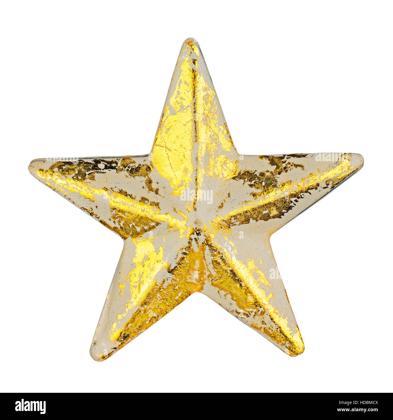 Golden christmas star ornament with peeling color patina isolated on white - Stock Image