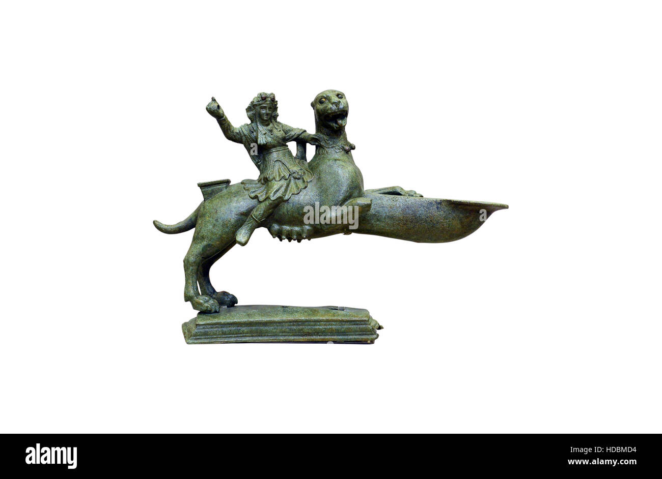 ancient greek bronze deity rider statuette isolated over white - Stock Image