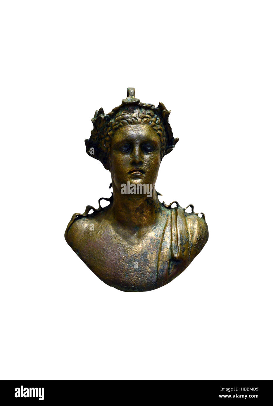 ancient greek bronze deity bust statuette isolated over white - Stock Image