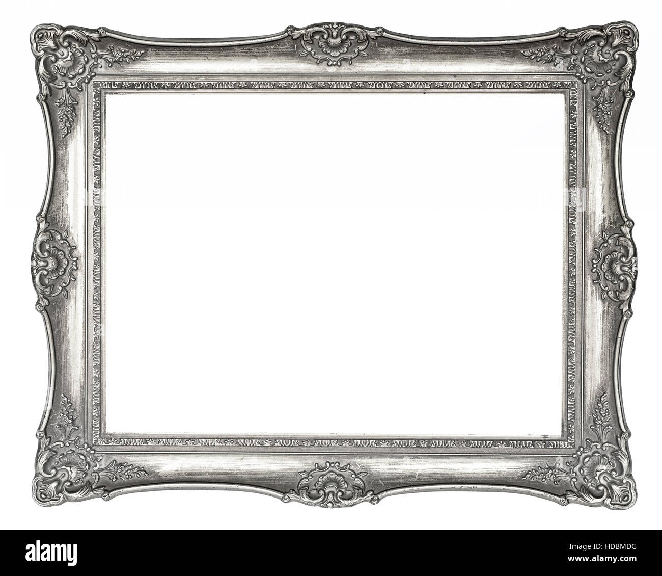 Silver vintage picture frame in high resolution isolated on white ...
