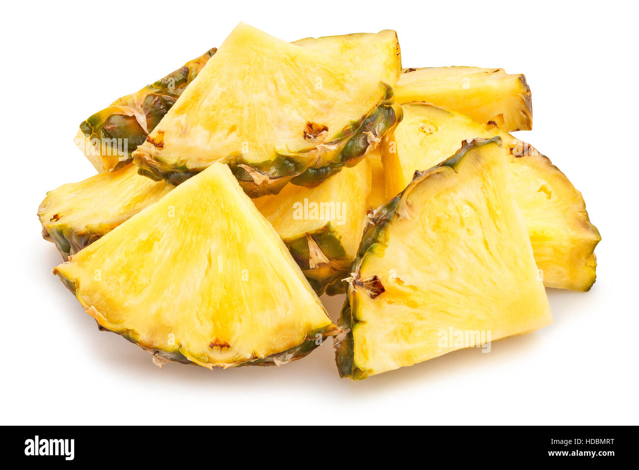 sliced pineapple isolated - Stock Image