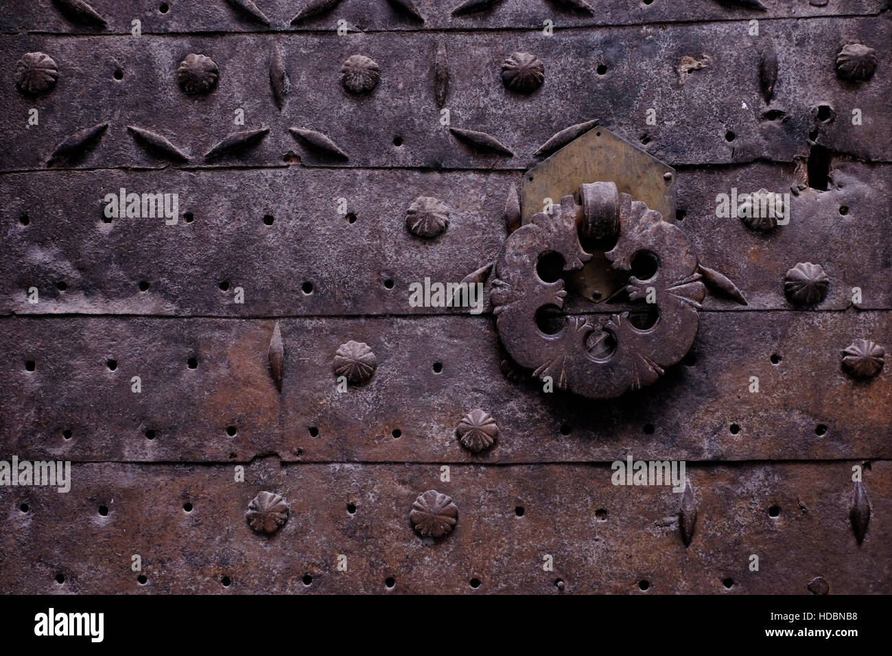 Ornaments of an old Ottoman metal door in King Faisal street in the Muslim Quarter in the old city East Jerusalem Israel & Ornaments of an old Ottoman metal door in King Faisal street in the ...