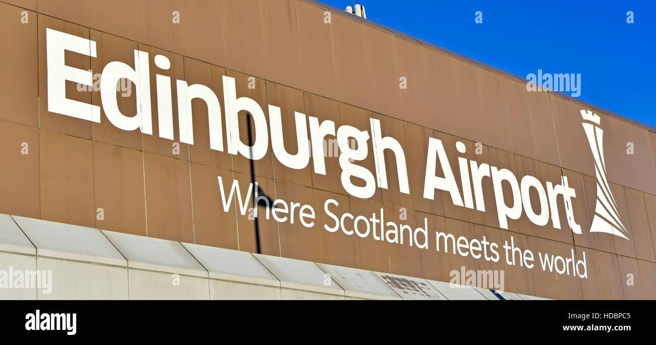 Scottish airports, aviation, Edinburgh Airport Ingliston Scotland uk large Edinburgh airport sign and logo on terminal - Stock Image